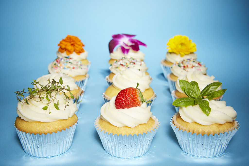 cupcakes with herbs